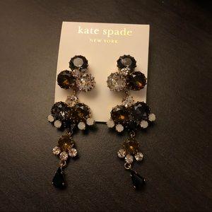 brown clear crystal look elegant night earrings